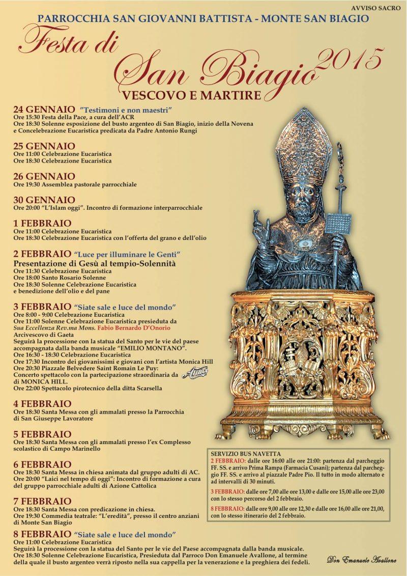 San Biagio Giorno Calendario.Parrocchia San Giovanni Battista Monte San Biagio